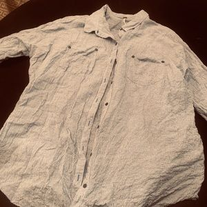 Free People Blue and White Crinkle Shirt